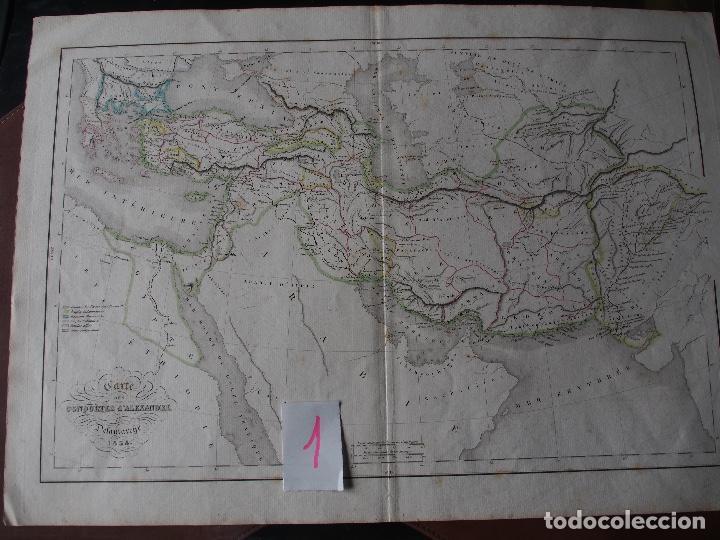 MAPA DE LAS CONQUISTAS DE ALEJANDRO DELAMARCHE 1838 (Arte - Cartografía Antigua (hasta S. XIX))