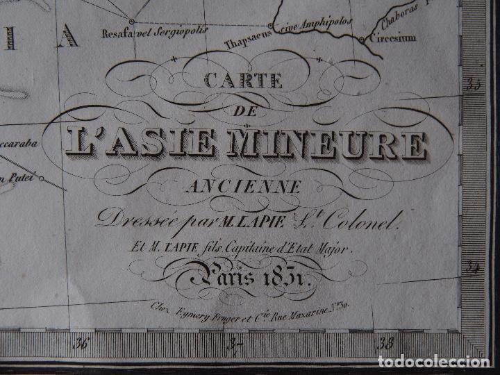 Arte: Mapa de de Asia Menor antigua. Lapie 1831 ¡Magnífico! Carte de LAsie Mineure Ancienne - Foto 2 - 206555662