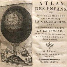 Arte: ATLAS DES ENFANTS ... APPRENDRE LA GEOGRAPHIE, 1784. SCHNEIDER. 24 MAPAS. Lote 207129070