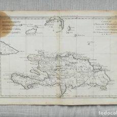 Arte: MAPA DE SANTO DOMINGO Y HAITI - BONNE - AÑO 1780. Lote 207210166