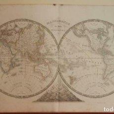 Arte: MAPA DEL MUNDO EN DOS HEMISFERIOS Y MONTAÑAS, 1844. CHARLES V. MONIN/HOCQUART. Lote 207609118