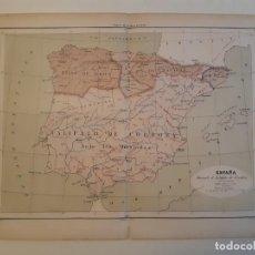 Arte: 4 MAPAS DE ESPAÑA DE 1860 - PUEBLOS DE NORTE/CALIFATO DE CÓRDOBA/ROMANOS/CASTILLA Y ARAGÓN. Lote 224429190