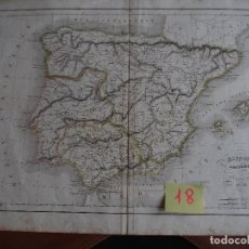 Arte: MAPA DE ESPAÑA ESPAGNE ANCIENNE DELAMARCHE 1838. Lote 208752006