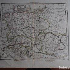 Arte: MAPA DE GERMANIA ANTIQUA ET REGIONES DANUBIUM INTER ET MARE ADRIATICUM CONTENTOE DELAMARCHE 1834. Lote 208755277