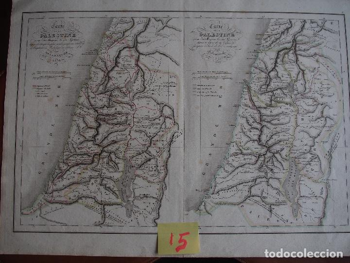 DOBLE MAPA DE PALESTINA. CARTE DE LA PALESTINE POUR L'INTELLIGENCE DE SON HISTOIRE. DELAMARCHE 1838 (Arte - Cartografía Antigua (hasta S. XIX))