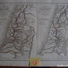 Arte: DOBLE MAPA DE PALESTINA. CARTE DE LA PALESTINE POUR L'INTELLIGENCE DE SON HISTOIRE. DELAMARCHE 1838. Lote 208758382
