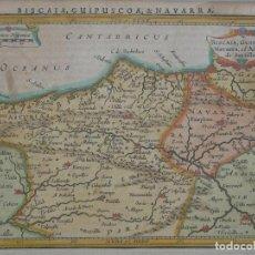 Arte: MAPA DE ASTURIAS, CANTABRIA, VIZCAYA, GUIPÚZCOA, NAVARRA,...(ESPAÑA), 1628. JANSSONIUS/HONDIUS. Lote 208936776