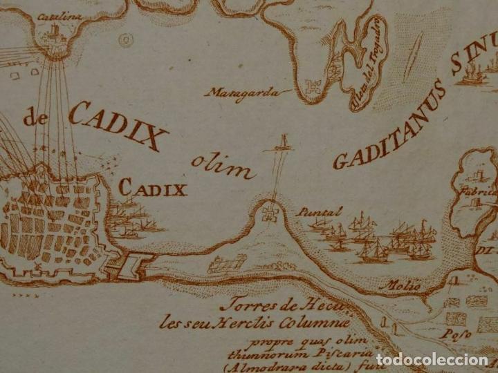 Arte: Batalla naval en la bahía y puerto de Cádiz (España), hacia 1715. Peter Schenk - Foto 2 - 208961220
