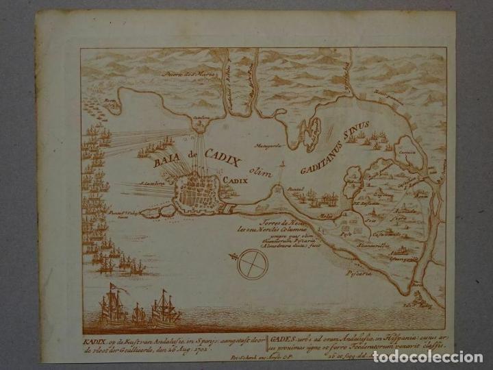 Arte: Batalla naval en la bahía y puerto de Cádiz (España), hacia 1715. Peter Schenk - Foto 3 - 208961220