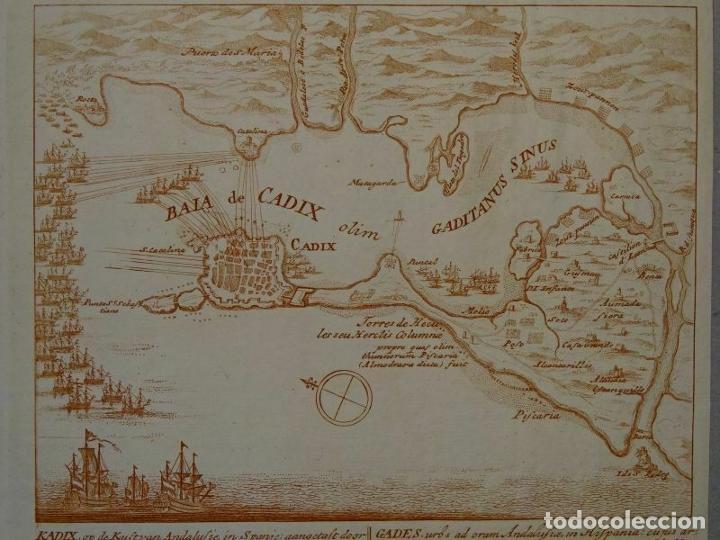 BATALLA NAVAL EN LA BAHÍA Y PUERTO DE CÁDIZ (ESPAÑA), HACIA 1715. PETER SCHENK (Arte - Cartografía Antigua (hasta S. XIX))