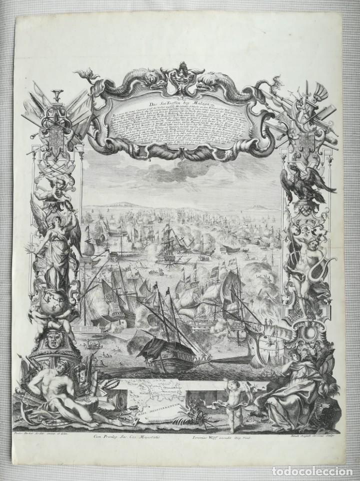 GRABADO BATALLA DE MALAGA 1704 - DECKER - GUERRA DE SUCESION - ES ORIGINAL (Arte - Cartografía Antigua (hasta S. XIX))
