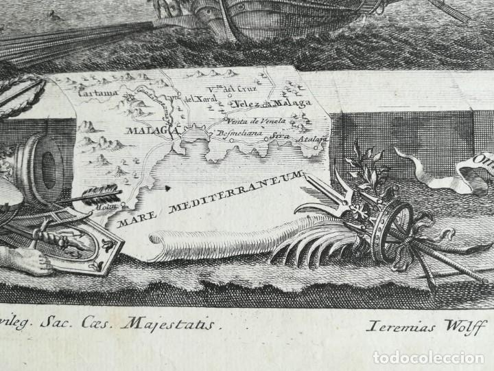 Arte: GRABADO BATALLA DE MALAGA 1704 - DECKER - GUERRA DE SUCESION - ES ORIGINAL - Foto 2 - 208994377
