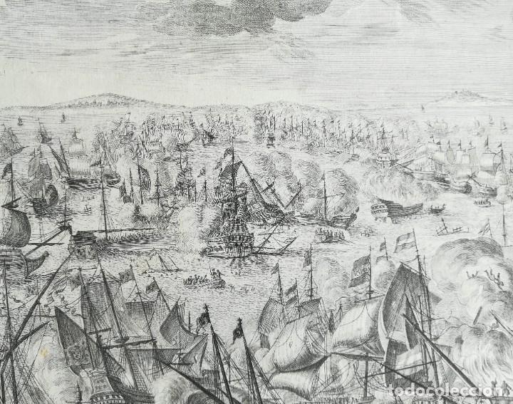 Arte: GRABADO BATALLA DE MALAGA 1704 - DECKER - GUERRA DE SUCESION - ES ORIGINAL - Foto 4 - 208994377