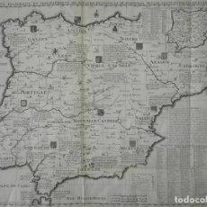 Arte: GRAN MAPA HISTÓRICO DE ESPAÑA Y PORTUGAL, CON ESCUDOS, 1705. Z. CHÂTELAIN. Lote 209009262