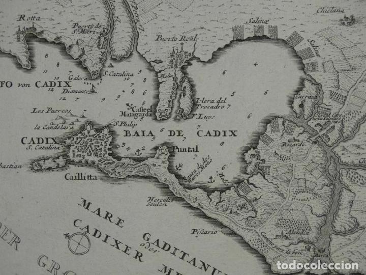 Arte: Plano de la bahía y ciudad de Cádiz (España), hacia 1705. Gabriel Bodenehr - Foto 2 - 209091396