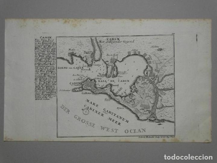 Arte: Plano de la bahía y ciudad de Cádiz (España), hacia 1705. Gabriel Bodenehr - Foto 3 - 209091396