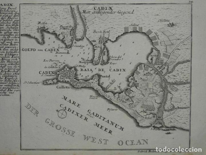 PLANO DE LA BAHÍA Y CIUDAD DE CÁDIZ (ESPAÑA), HACIA 1705. GABRIEL BODENEHR (Arte - Cartografía Antigua (hasta S. XIX))