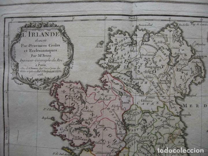 Arte: Mapa de la isla de Irlanda (Europa), 1766. Brion de la Tour/Desnos - Foto 2 - 209577506