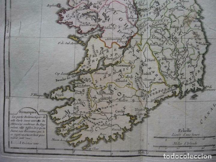 Arte: Mapa de la isla de Irlanda (Europa), 1766. Brion de la Tour/Desnos - Foto 3 - 209577506