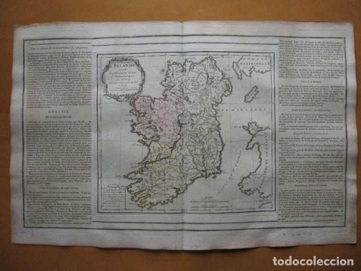 Arte: Mapa de la isla de Irlanda (Europa), 1766. Brion de la Tour/Desnos - Foto 4 - 209577506