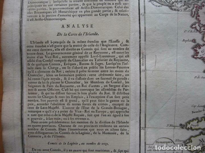 Arte: Mapa de la isla de Irlanda (Europa), 1766. Brion de la Tour/Desnos - Foto 5 - 209577506