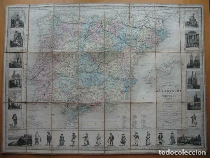 GRAN MAPA PLEGABLE DE ESPAÑA Y PORTUGAL, HACIA 1840. FREMIN/LAVIGNE (Arte - Cartografía Antigua (hasta S. XIX))