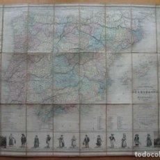 Arte: GRAN MAPA PLEGABLE DE ESPAÑA Y PORTUGAL, HACIA 1840. FREMIN/LAVIGNE. Lote 209579826