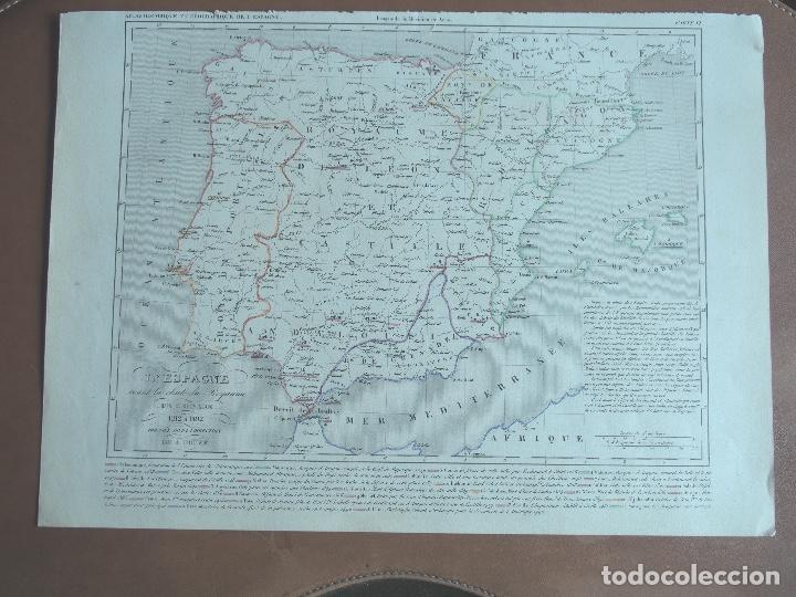 MAPA DE ESPAÑA ANTES DE LA CAÍDA DEL REINO DE GRANADA - A. HOUZÉ 1844 ATLAS HISTORIQUE ET GEOG (Arte - Cartografía Antigua (hasta S. XIX))