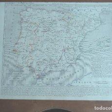 Arte: MAPA DE ESPAÑA ANTES DE LA CAÍDA DEL REINO DE GRANADA - A. HOUZÉ 1844 ATLAS HISTORIQUE ET GEOG. Lote 287896528