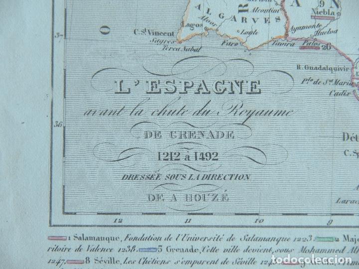 Arte: Mapa de España antes de la caída del Reino de Granada - A. Houzé 1844 Atlas Historique et Geog - Foto 2 - 209948298
