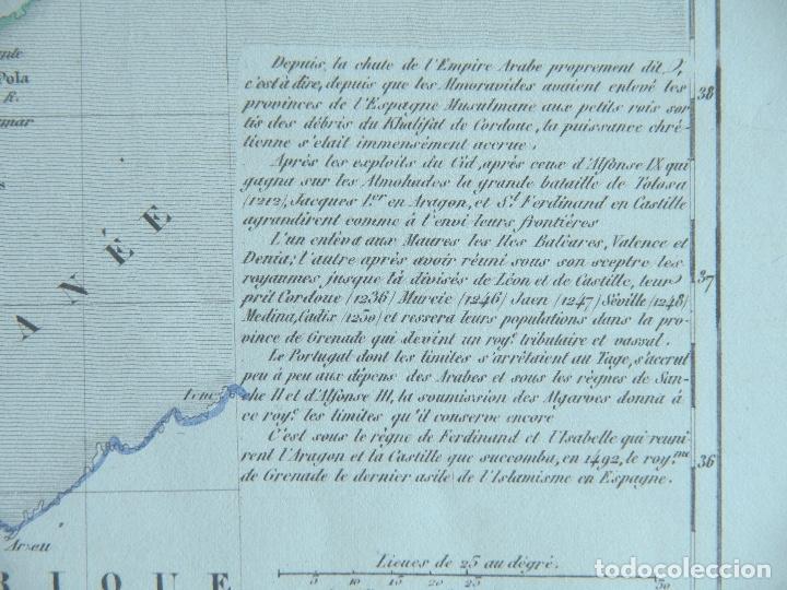 Arte: Mapa de España antes de la caída del Reino de Granada - A. Houzé 1844 Atlas Historique et Geog - Foto 3 - 209948298