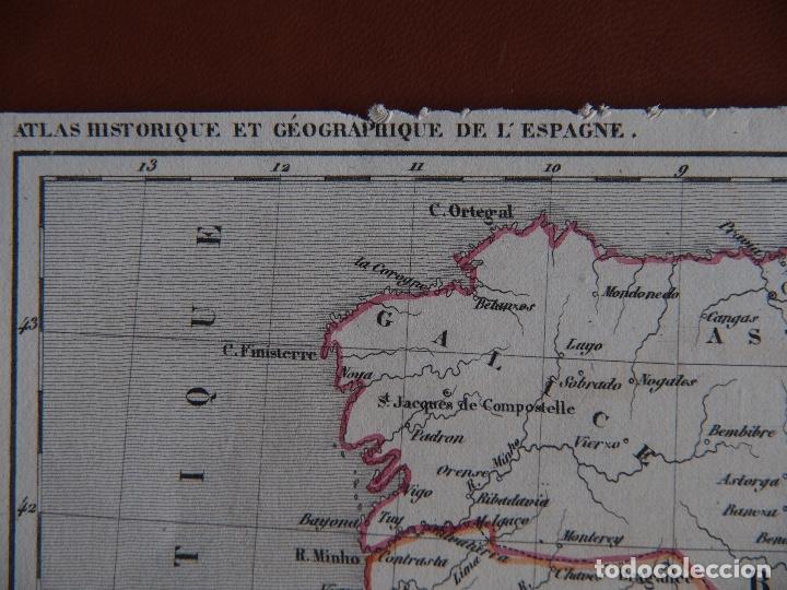 Arte: Mapa de España antes de la caída del Reino de Granada - A. Houzé 1844 Atlas Historique et Geog - Foto 4 - 209948298