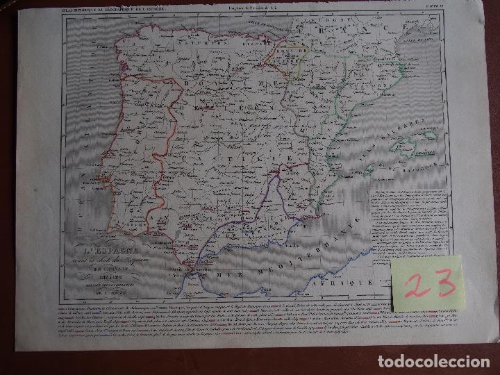 Arte: Mapa de España antes de la caída del Reino de Granada - A. Houzé 1844 Atlas Historique et Geog - Foto 5 - 209948298