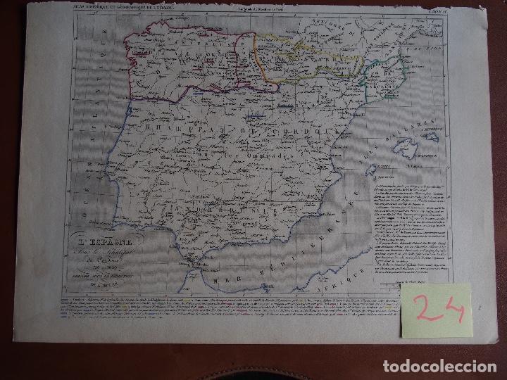 ESPAÑA BAJO EL CALIFATO DE CÓRDOBA 756 A 1030 MAPA A. HOUZÉ ATLAS HISTORIQUE (Arte - Cartografía Antigua (hasta S. XIX))