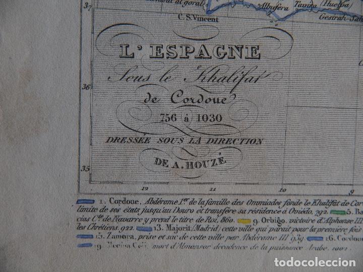 Arte: España bajo el Califato de Córdoba 756 a 1030 mapa A. Houzé Atlas Historique - Foto 3 - 209949497