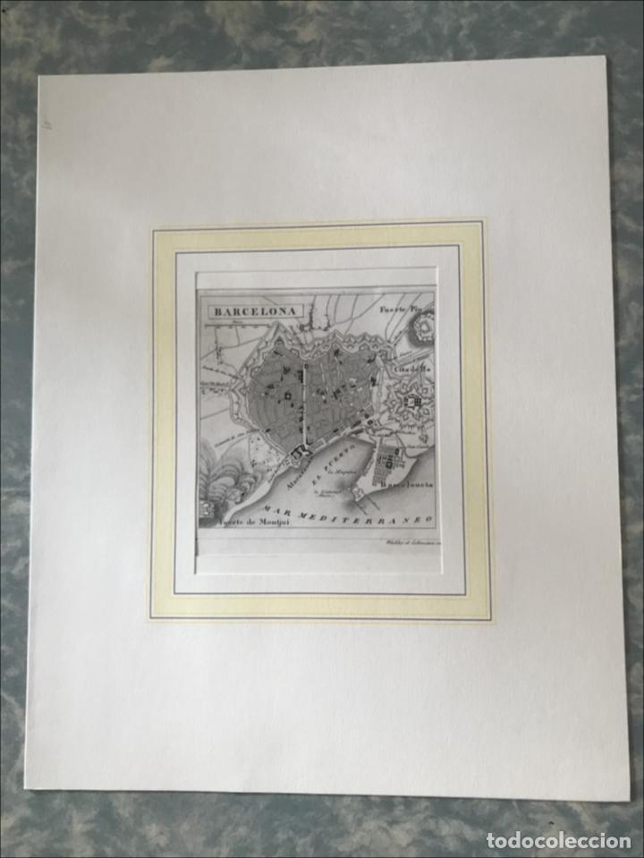 Arte: Plano de la ciudad de Barcelona e inmediaciones (España), 1849. Winkles y Lehmann - Foto 2 - 210095983