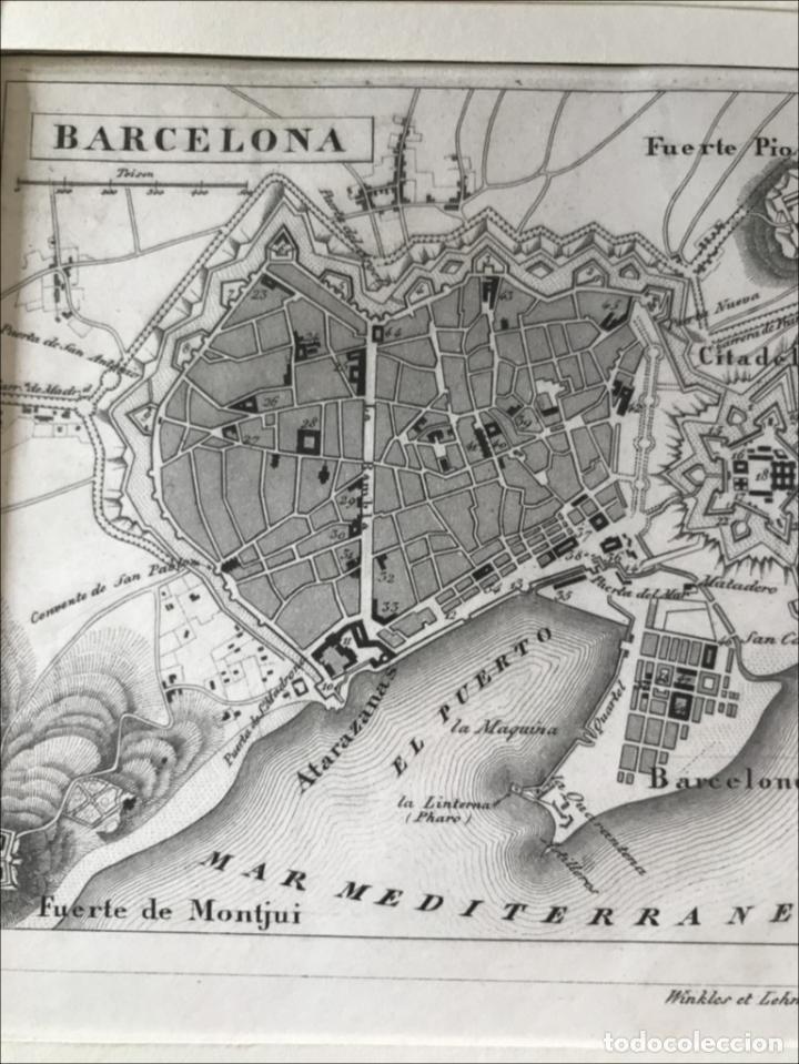 Arte: Plano de la ciudad de Barcelona e inmediaciones (España), 1849. Winkles y Lehmann - Foto 3 - 210095983