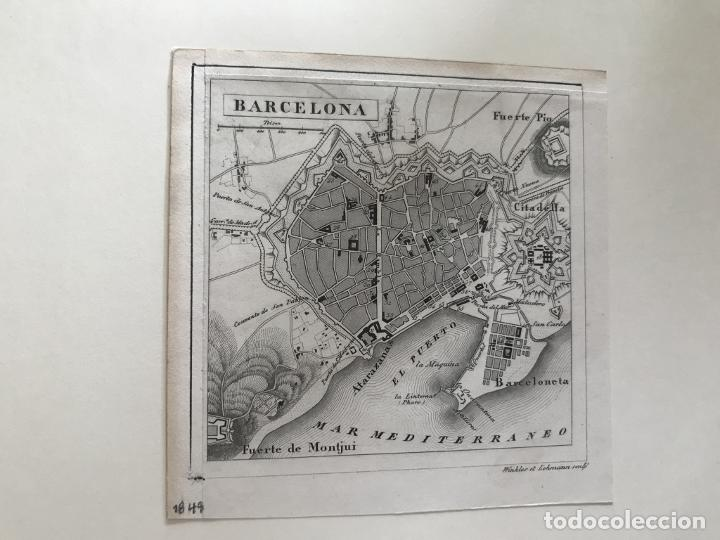 Arte: Plano de la ciudad de Barcelona e inmediaciones (España), 1849. Winkles y Lehmann - Foto 4 - 210095983