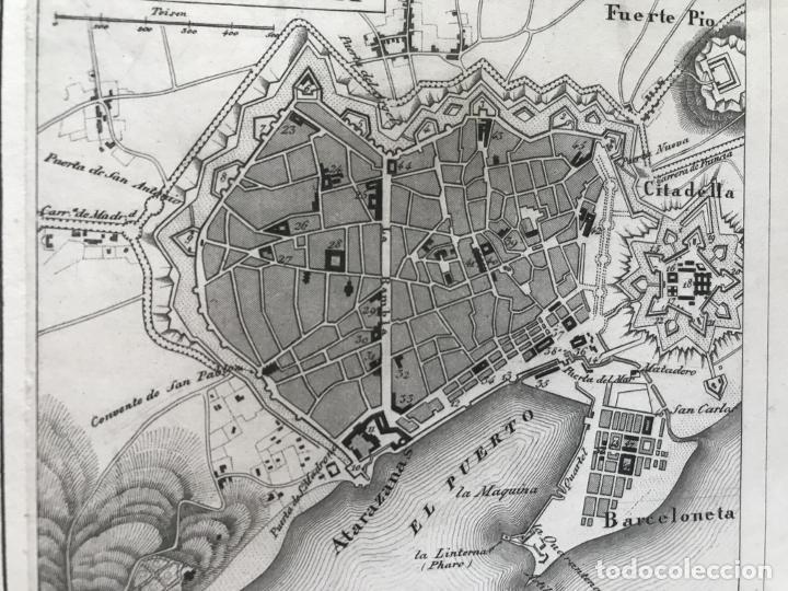 Arte: Plano de la ciudad de Barcelona e inmediaciones (España), 1849. Winkles y Lehmann - Foto 5 - 210095983