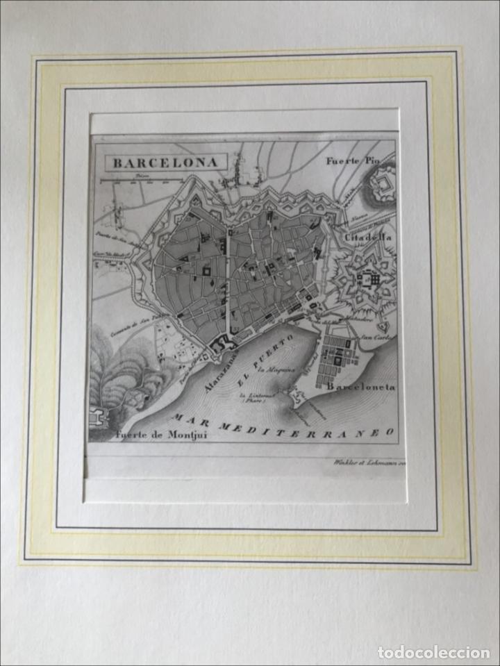 PLANO DE LA CIUDAD DE BARCELONA E INMEDIACIONES (ESPAÑA), 1849. WINKLES Y LEHMANN (Arte - Cartografía Antigua (hasta S. XIX))