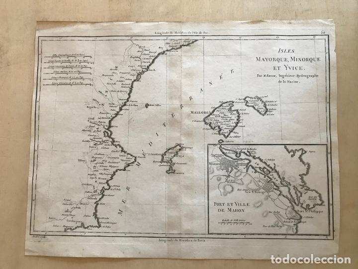 Arte: Mapa de Valencia y las Islas Baleares (España), 1780. Bonne/André - Foto 2 - 210549925