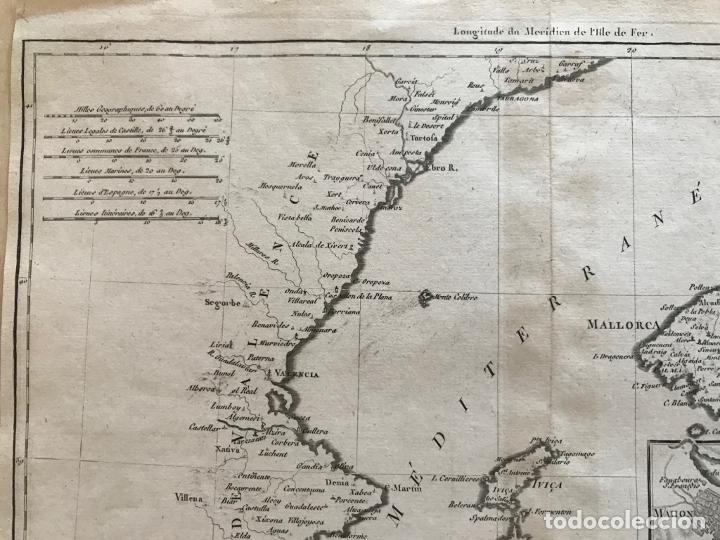 Arte: Mapa de Valencia y las Islas Baleares (España), 1780. Bonne/André - Foto 3 - 210549925