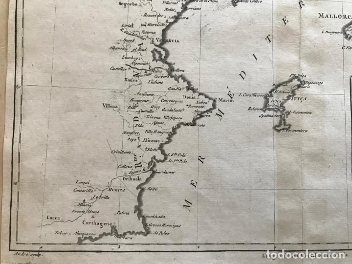 Arte: Mapa de Valencia y las Islas Baleares (España), 1780. Bonne/André - Foto 6 - 210549925