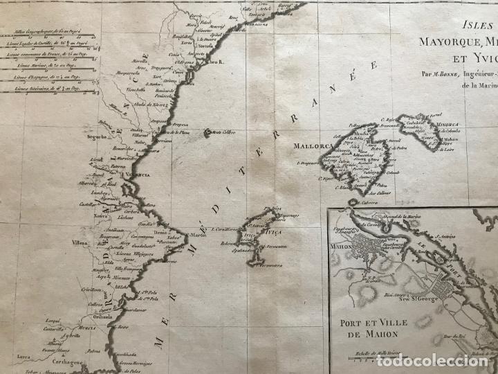 Arte: Mapa de Valencia y las Islas Baleares (España), 1780. Bonne/André - Foto 7 - 210549925
