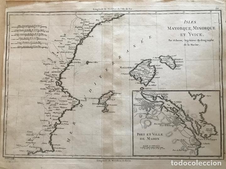 MAPA DE VALENCIA Y LAS ISLAS BALEARES (ESPAÑA), 1780. BONNE/ANDRÉ (Arte - Cartografía Antigua (hasta S. XIX))