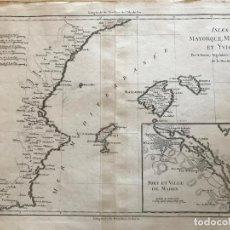 Arte: MAPA DE VALENCIA Y LAS ISLAS BALEARES (ESPAÑA), 1780. BONNE/ANDRÉ. Lote 210549925