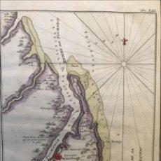 Arte: CARTA NÁUTICA DE LA DESEMBORADURA DEL RÍO POMEROON (GUAYANA), 1733. KREVELT/PREVOST. Lote 210689686