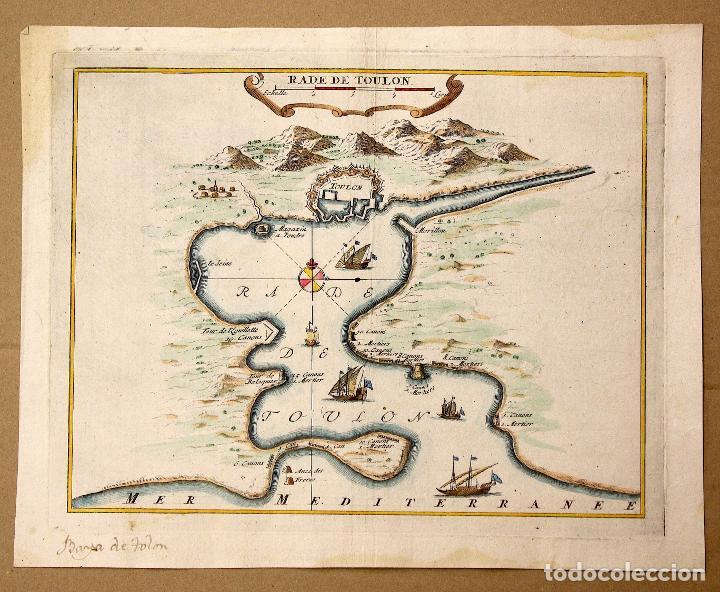 MAPA RADE DE TOULON. PUERTO DE TOULON, FRANCIA. SIGLO XVIII (Arte - Cartografía Antigua (hasta S. XIX))