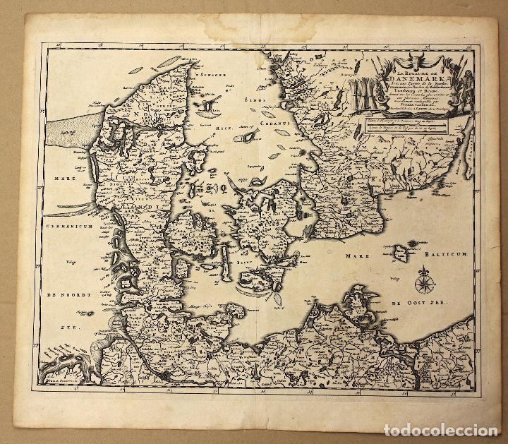 MAPA LE ROYAUME DE DANEMARK. DINAMARCA. CIRCA 1730 (Arte - Cartografía Antigua (hasta S. XIX))