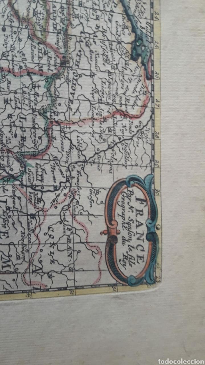 Arte: Antiguo grabado iluminado del mapa de francia y regiones. Siglo XVII XVIII ?. - Foto 2 - 212238133